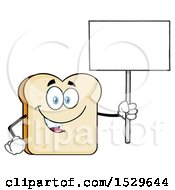 Sliced Bread Mascot Character Holding Up A Blank Sign