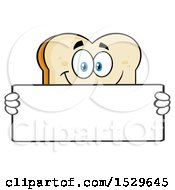 Sliced Bread Mascot Character Holding A Blank Sign