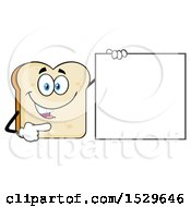 Sliced Bread Mascot Character Pointing To A Blank Sign