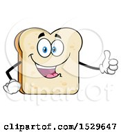 Clipart Of A Sliced Bread Mascot Character Giving A Thumb Up Royalty Free Vector Illustration by Hit Toon