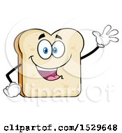 Clipart Of A Sliced Bread Mascot Character Waving Royalty Free Vector Illustration