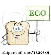 Sliced Bread Mascot Character Holding An Eco Sign