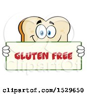 Clipart Of A Sliced Bread Mascot Character Holding A Gluten Free Sign Royalty Free Vector Illustration