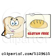 Sliced Bread Mascot Character Pointing To A Gluten Free Sign