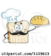 Clipart Of A Sliced Bread Chef Mascot Character With A Mustache Holding A Loaf Royalty Free Vector Illustration