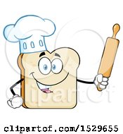 Sliced Bread Chef Mascot Character Holding A Rolling Pin