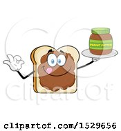 Clipart Of A Sliced Bread Mascot Character Smeared With Peanut Butter Holding A Jar And Gesturing Perfect Royalty Free Vector Illustration