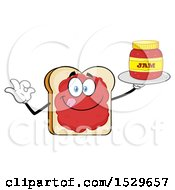 Clipart Of A Sliced Bread Mascot Character Smeared With Jam Holding A Jar And Gesturing Perfect Royalty Free Vector Illustration