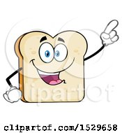 Clipart Of A Sliced Bread Mascot Character Pointing Royalty Free Vector Illustration by Hit Toon