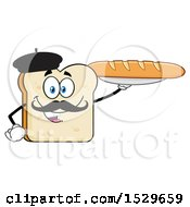 Sliced French Bread Mascot Character Holding A Baguette
