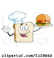 Sliced Bread Chef Mascot Character Serving A Cheeseburger