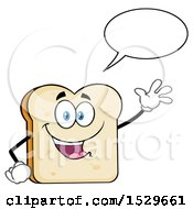 Sliced Bread Mascot Character Talking And Waving