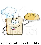 Sliced Bread Chef Mascot Character Serving A Loaf