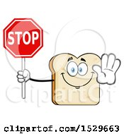 Sliced Bread Mascot Character Holding A Stop Sign