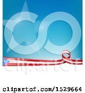 Puerto Rican Ribbon Flag Over A Blue And White Background