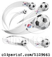 Poster, Art Print Of 3d Soccer Balls And South Korean Flags