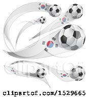 3d Soccer Balls And South Korean Flags