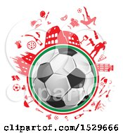 Clipart Of A Soccer Ball And Italian Culture Travel Icons Royalty Free Vector Illustration by Domenico Condello