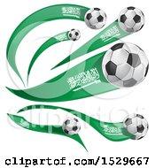 Poster, Art Print Of 3d Soccer Balls And Saudi Arabian Flags