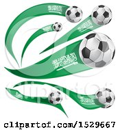 Clipart Of 3d Soccer Balls And Saudi Arabian Flags Royalty Free Vector Illustration