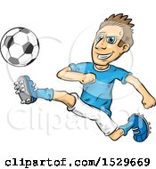 Clipart Of A Tough Male Soccer Player Royalty Free Vector Illustration by Domenico Condello