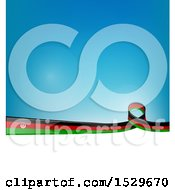 Poster, Art Print Of Afghanistan Ribbon Flag Over A Blue And White Background