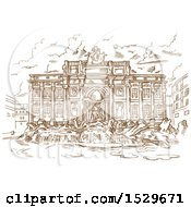 Clipart Of A Brown Sketched Scene Of Trevi Fountain Royalty Free Vector Illustration