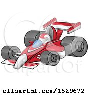 Clipart Of A Cartoon Red Forumla One Race Car Royalty Free Vector Illustration
