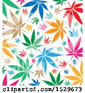 Clipart Of A Colorful Marijuana Pot Leaf Background Royalty Free Vector Illustration