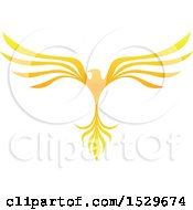 Clipart Of A Golden V Shaped Eagle Or Phoenix Bird Flying Royalty Free Vector Illustration by cidepix