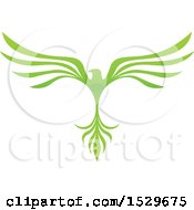 Green V Shaped Eagle Or Phoenix Bird Flying