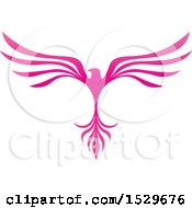 Poster, Art Print Of Pink V Shaped Eagle Or Phoenix Bird Flying