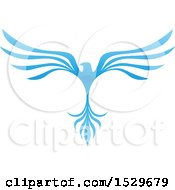 Clipart Of A Blue V Shaped Eagle Or Phoenix Bird Flying Royalty Free Vector Illustration by cidepix