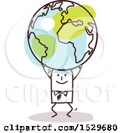 Clipart Of A Stick Business Man Carrying An Earth Globe Royalty Free Vector Illustration
