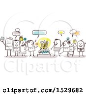 Clipart Of A Stick Family Celebrating A Birthday Around A Cake Royalty Free Vector Illustration