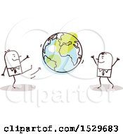 Clipart Of Stick Business Men Kicking An Earth Globe Back And Forth Royalty Free Vector Illustration