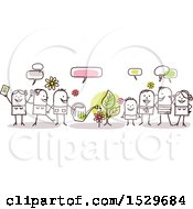 Clipart Of A Stick Family Celebrating Spring Time Around A Plant Royalty Free Vector Illustration