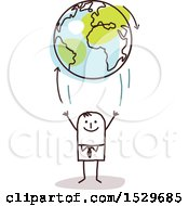 Clipart Of A Stick Business Man Tossing Up An Earth Globe With Arrows Royalty Free Vector Illustration