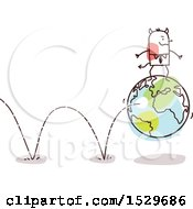 Clipart Of A Stick Devil Business Man On A Bouning Earth Globe Royalty Free Vector Illustration