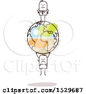 Clipart Of A Stick Business Man On Top Of An Earth Globe With A Struggling Man Hanging On The Bottom Royalty Free Vector Illustration