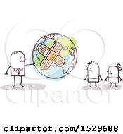 Clipart Of A Stick Business Man Handing A Bandaged Earth Globe To His Children Royalty Free Vector Illustration