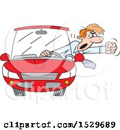 Cartoon White Male Driver With Road Rage Waving His Fist Out Of His Window