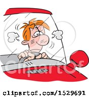 Clipart Of A Cartoon Angry Male Driver Stuck In A Traffic Jam Royalty Free Vector Illustration
