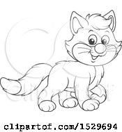 Clipart Of A Black And White Cute Kitten Royalty Free Vector Illustration