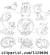 Clipart Of Black And White Cute Pet Animals Royalty Free Vector Illustration