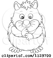 Clipart Of A Black And White Cute Hamster Royalty Free Vector Illustration