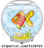 Clipart Of A Pet Fish In A Bowl Royalty Free Vector Illustration