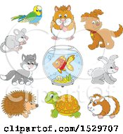 Clipart Of Cute Pet Animals Royalty Free Vector Illustration