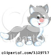 Clipart Of A Cute Gray Cat Royalty Free Vector Illustration