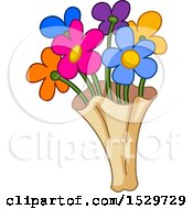 Clipart Of A Cartoon Colorful Bouquet Of Flowers Royalty Free Vector Illustration
